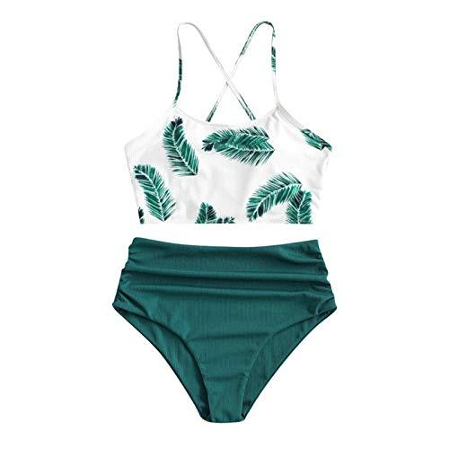 YANFANG Bikini de Traje de baño de Talla Grande Holgado con Estampado Floral de Dos Piezas para Mujer, S,Green