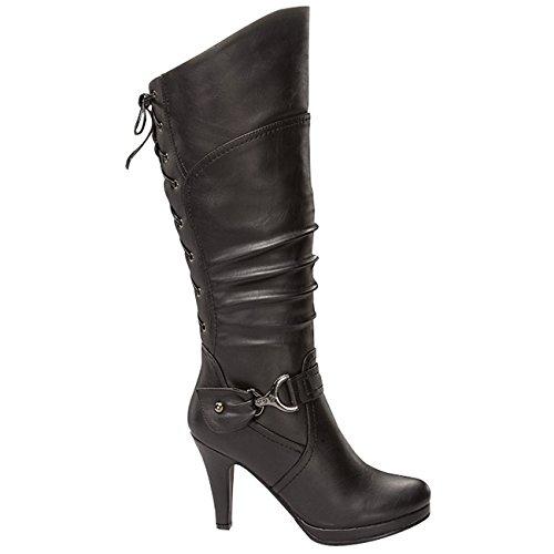 191b723d90d Top Moda Women s Knee Lace-up High Heel Boots