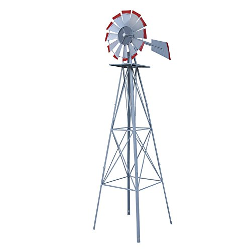 StarsDeals 8ft. Ornamental Decorative Garden Yard Windmill Silver - Red Tips