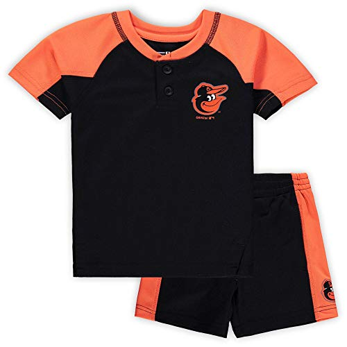 Outerstuff MLB Infants Toddler Play Strong Short Sleeve Henley Shirt & Shorts Set (4T, Baltimore Orioles)