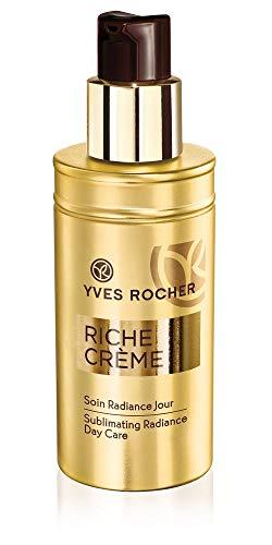 Yves Rocher RICHE CRÈME Ausstrahlungs-Pflege Tag, regenerierende Gesichtscreme für Damen, 1 x Pump-Flacon 50 ml