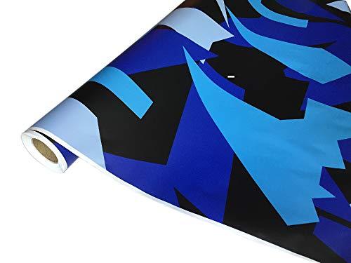 folimac 8,50€/m² Camouflage Autofolie Selbstklebend mit Luftkanäle Schwarz Blau Himmelblau #34 (200cm x 152cm)