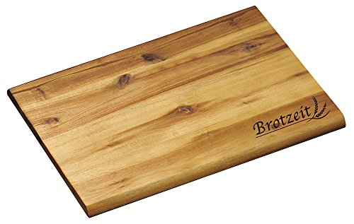 KESPER Brotzeitbrett aus Akazienholz mit Einbrand - Motiv Brotzeit/Vesperbrett/Brotzeitbrett