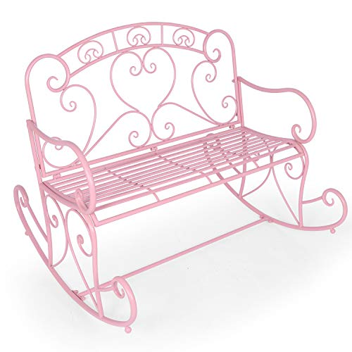 LAZZO 41' Patio Rocking Chair, Cast Iron Metal Frame Garden Furniture Rocker Chair, 2 Person Stylish Large Outdoor Loveseat Rocking Bench for Yard Porch Living Room Entryway Farmhouse (Pink)