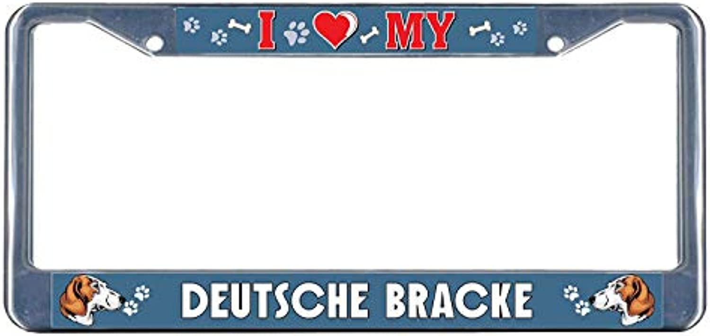 Deutsche Bracke Dog I I I Heart Chrome Metal License Plate Frame Tag