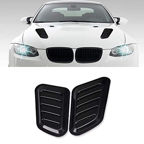 LEIWOOR 2PCS ABS Car Universal Decorative Intake Scoop Turbo Bonnet Vent Cover Hood Auto (Black)