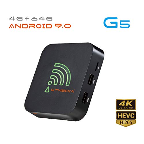 Android 9.0 TV Box, GT MEDIA G5 4K Ultra HD Streaming Media Player, 4 GB RAM 64 GB ROM Quad-Core, HDMI H.265 4K 10bit HDR, Bluetooth, DLAN, Dolby-Audio, Duales WiFi 2,4G/5GHz, USB 3.0