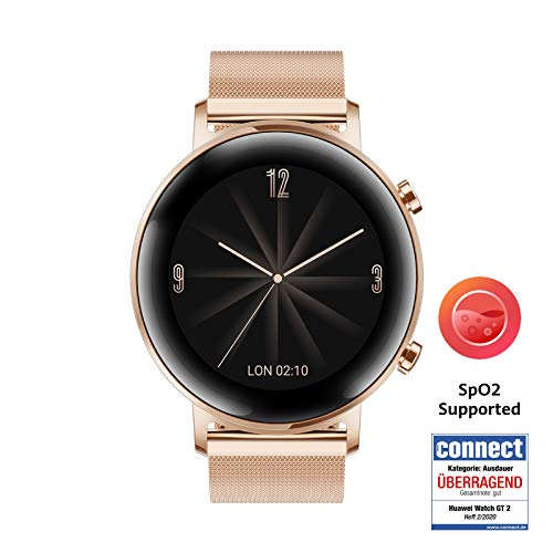 HUAWEI Watch GT 2 Smartwatch (42 mm Full-Color-AMOLED Touchscreen, SpO2-Monitoring, Herzfrequenzmessung, Musik Wiedergabe, 5ATM wasserdicht, GPS) Refined Gold [Exklusiv +5 EUR Amazon Gutschein]