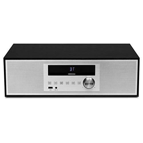MEDION P64301 Mikroanlage mit CD (Stereoanlage, Kompaktanlage, Bluetooth 2.1, PLL UKW Radio, 2 x 15 Watt RMS, RDS, AMS, LED-Display)