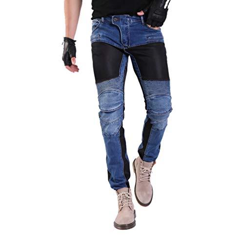 YuanDian Herren Sommer Motorrad Jeans Denim Motorradhose Mit Protektoren Knie und Hüftprotektoren Stretch Slim Fit Breathable Mesh Cargo Motorradjeans Blau 33W / 32L