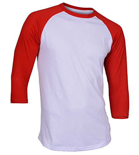 Dream USA Men's Casual 3/4 Sleeve Baseball Tshirt Raglan Jersey Shirt White/Red Large