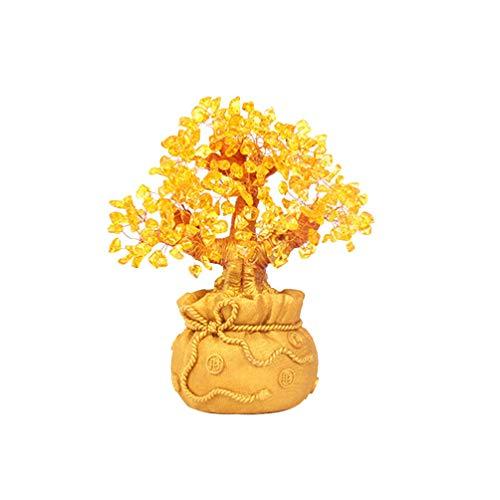 Healifty Albero di Soldi Giallo Naturale Cristallo Quarzo Denaro Albero Albero Feng Shui Ornamento Cristalli Reiki Decorazione Desktop da Ufficio per Soggiorno (Dimensioni)