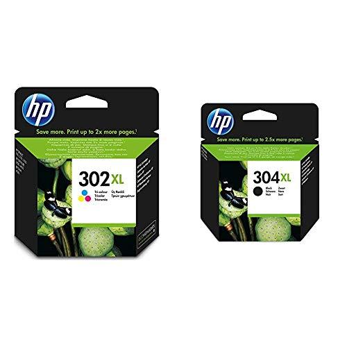 HP 302XL Farbe Original Druckerpatrone mit hoher Reichweite & 304XL schwarz Original Druckerpatrone mit hoher Reichweite für HP DeskJet 2630, 3720, 3720, 3720, 3730, 3735, 3750, 3760