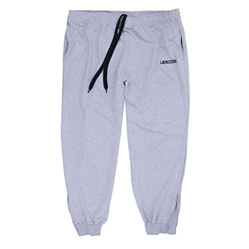 Lavecchia LV-2018 - Pantaloni da jogging da uomo, taglie forti, colore: grigio chiaro grigio. XXXXXXXL
