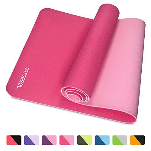 arteesol Tapis de Yoga, Fitness, épais et antidérapants, écologique, Haute densité avec civière de Yoga, pour Exercices de Pilates et au Sol (Rose Rouge)