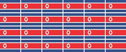 Jintora Mini Drapeaux/Drapeaux Ensemble - Lisse - 33x20mm - Autocollant - Nordkorea - Standard pour la Voiture, Le Bureau, la Maison et l'école - 24 pièces