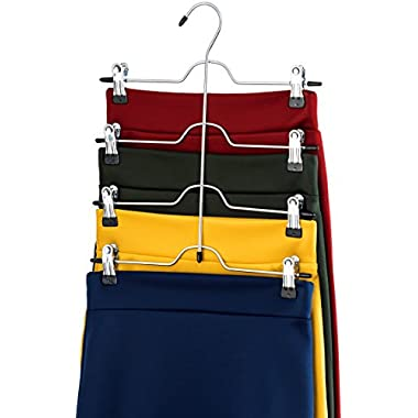 ZOBER Space Saving 4 Tier Trouser Skirt Hanger (Set of 6) Sturdy Luxurious Chrome with Non Slip Black Vinyl Clips, Multi Pants Hanger for Skirts, Pants, Slacks, Jeans, and More.
