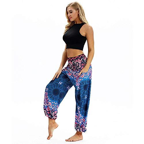 Donna Vita Alta Yoga Pantaloni Harem Tasca Bloomers Traspirante Quick Dry Luce Viola Giada Oceano Blu Danza Del Ventre Fitness Sport Activewear Elastico Sciolto Blu oceano Taglia unica