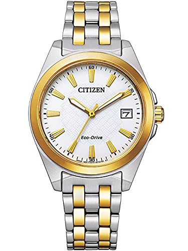 Citizen EO1214-82A Eco Drive - Reloj de pulsera para mujer (acero inoxidable, 10 bar, analógico, fecha, bicolor)