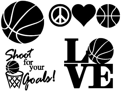 CCDecals Basketball Decals 4 Pack: Basketball Ball, Peace Love Basketball, Love, Shoot for Your Goals (Basketball Black)