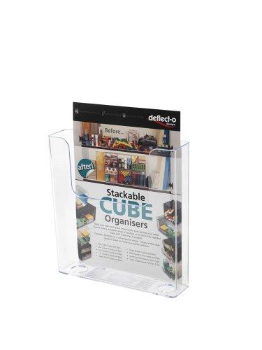 Deflect-o 76401- Soporte de pared para folletos (A4, 1 compartimento, vertical, recto), transparente