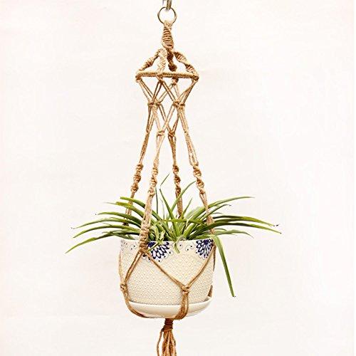 Suspension pour pot de fleurs en corde de chanvre - Grande taille - Fait à la main
