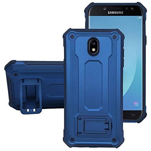 KUAWEI Custodia per Samsung Galaxy J5 2017 Dual Layer Custodia Ibrida Rigida Morbido Armatura Resistente agli Urti con Supporto e asportabile di Protezione per Galaxy J5/J5 PRO/J530 2017 (Blu+Blu)