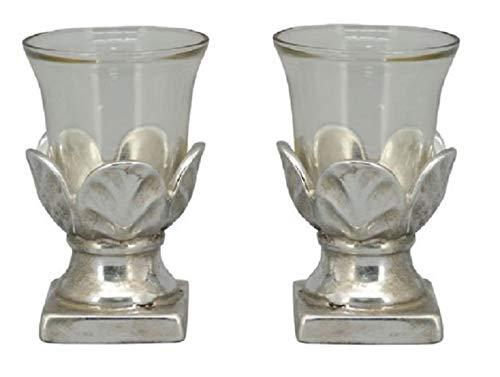 E-X dekoratives Tisch-Windlicht Garten-Windlicht Shabby Silber Vintage Optik in 2 möglichen Größen Preis je für 2 Stück (2 x klein)
