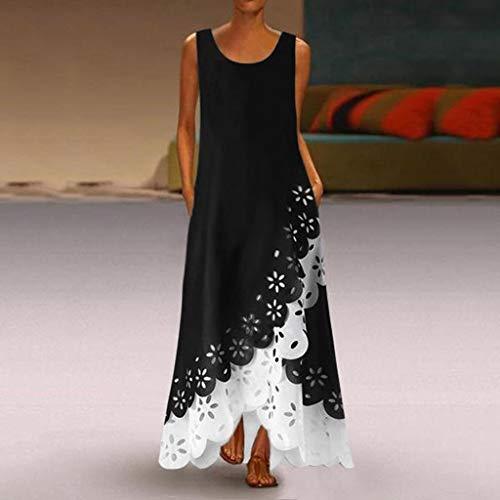 Vestidos Bohemio Mujer Verano 2020, Dragon868 Vestidos de Playa de Sin Mangas con Cuello Redondo, Tallas Grandes Maxi Vestido Largo, Vestidos de Fiesta Hueco, Kaftan Bikini Cover Up