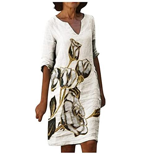 L9WEI Damska letnia sukienka z dekoltem w kształcie litery V, luźna sukienka bluzkowa, damska sukienka w stylu retro, z nadrukiem, swobodna, plus rozmiar, letnia sukienka