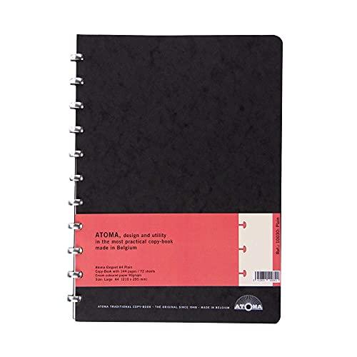 ATOMA - Cuaderno con hojas intercambiables (formato A4, en blanco, 144 páginas, 72 hojas, 210 x 295 mm)