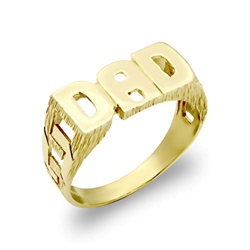 Jewelco London Men's Solid 9ct Yellow Gold Curb Link Sides DAD Ring, Size Y