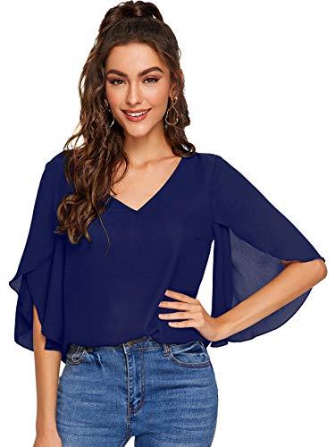 DIDK Damen Chiffon Bluse Halbarm Tunika Blusen V Ausschnitt Leicht Shirt mit Trompetenärmeln Oberteil Marineblau S