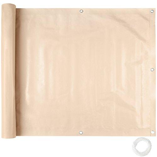 TecTake Brise Vue pour Balcon Protection visuelle | Résistant aux intempéries - diverses Couleurs et diverses Tailles au Choix (0,9 x 6 m | crème | No. 402708)