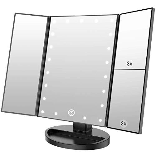 WEILY Espejo de Maquillaje con 21 Luces LED y Lupa 2X/ 3X, Doble Fuente de alimentacion Espejos cosmeticos con luz LED (Negro)