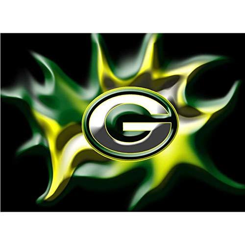 Diamond Painting Kits,Green Diamond Gemälde Bay Packers Team Logo American Football 5D Diamant Gemälde Mosaik Cartoo 30x40cm