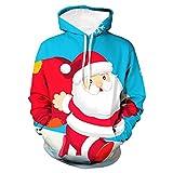 Fenverk Herren Langarm Hoodie Sweatshirt Slim Fit Sweatjacke Kapuzenpullover Baumwoll Pullover Outwear MäNner Winter Weihnachten Mit Kapuze Mantel Tops(Blau,3XL)