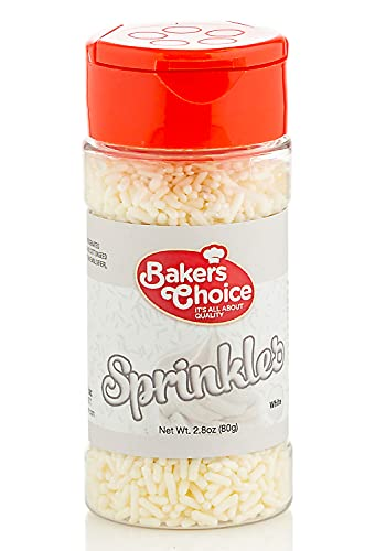 Bakers Choice White Sprinkles for Baking - Jimmies Sprinkles for Ice Cream Toppings - Dairy Free, Kosher 2.8 oz.