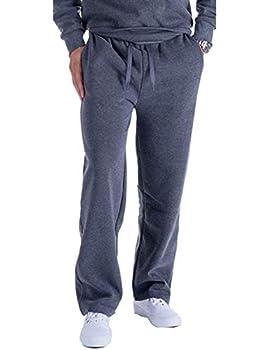 LeeHanTon Mens Workout Pants Open Bottom Fleece Sports Sweatpants Training Pants Dark Grey X-Large