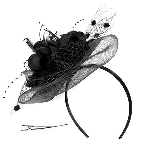 Chapeau de Mariage Nuptial Coiffure Plume de Halloween Carnaval Déguisement Bibi Voilette en Maille à Pois Voile de Mariée avec Pince à Cheveux Barrette Bandeau de Cérémonie Banquet Derby Soirée