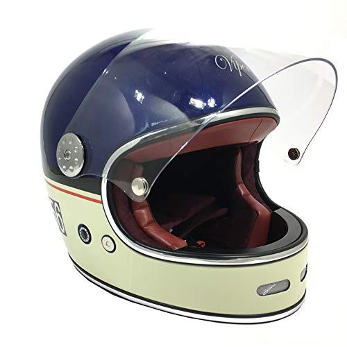 Viper F656 Vintage Vintage Fiberglas Retro Style Motorrad Crash Helm ? Mitternachtsblau/Creme - Midnight Blue/Cream - L