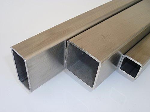 B&T Metall Edelstahl Vierkantrohr 50x50x2.0 mm V2A (1.4301) geschliffen K240 in Längen à ca. 2 mtr. (+0/-3 mm)