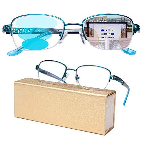 JIMMY ORANGE遠近両用老眼鏡 累進多焦点レンズ ブルーライトカット レディース 境目のない おしゃれな軽いリーディンググラス 5107GX ブルー 度数+2.0