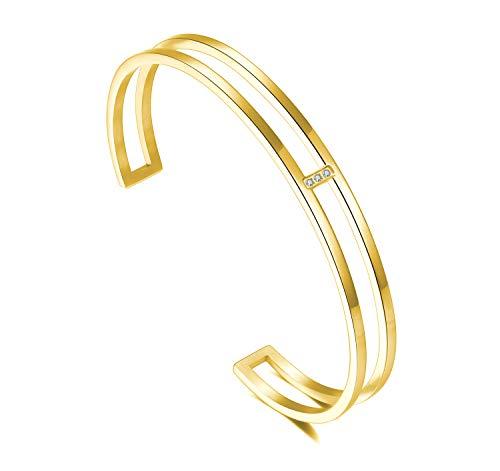 URBANHELDEN - Armreif mit Kristallen - Damen Schmuck - Verstellbar, Edelstahl - Armband mit Zirkonia Steinchen - Damenarmband Schmuck - Gold
