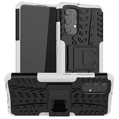 Neumáticos Funda para Samsung Galaxy A32 4G, 2in1 Armadura Combinación A Prueba de Choques Heavy Duty Escudo Cáscara Dura con Soporte (Blanco)