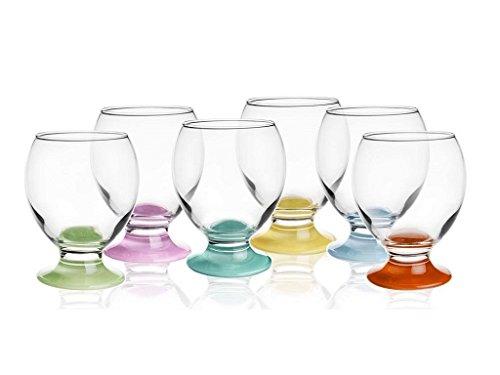 Sendez 6 Gläser mit bunten Füßen 250ml Wassergläser Saftgläser Trinkgläser Whiskygläse