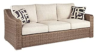 Signature Design by Ashley Beachcroft Outdoor Upholstered Patio Sofa with All-Weather Wicker Frame, Beige & Brown (B07KQWDYL6) | Amazon price tracker / tracking, Amazon price history charts, Amazon price watches, Amazon price drop alerts