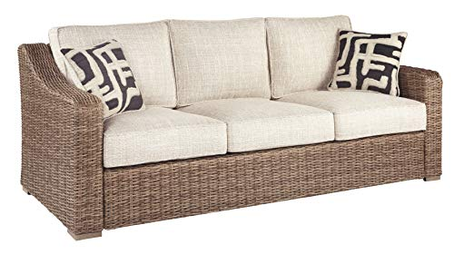 Signature Design by Ashley Beachcroft Outdoor Upholstered Patio Sofa with All-Weather Wicker Frame, Beige & Brown