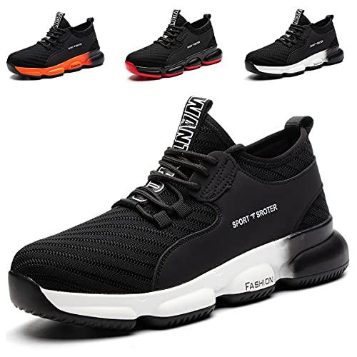 YISIQ Zapatos de Seguridad para Hombre Mujer Transpirable Ligeras con Puntera de Acero Trabajo Calzado de Zapatos de Industrial y Deportiva Unisex, 07 Negro Blanco, 40 EU ✅