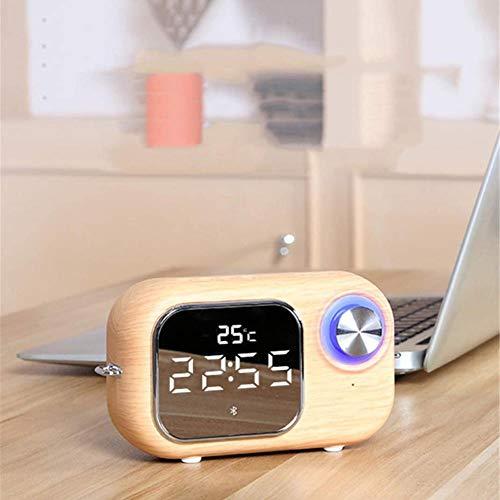 XY-M Mini Ordenador portátil sin Manos Libres Bluetooth externos Reloj Despertador, Reproductor de Espejo Despertador Retro Radio FM HD Alarma por Voz con Manos Libres de Coche Doble, Ros.